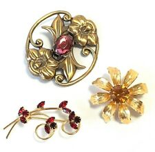 Vintage Brooches Lot Flowers Rhinestones Gold Tone And Brass Pink Yellow Red