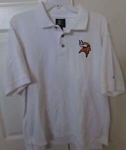 NFL Minnesota Vikings Mens White Polo Golf Shirt XL by Starter EUC