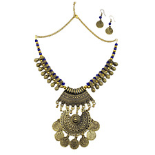 Fashion Jewelry Boho Coin Necklace Gold Plated Afghan Jewelry Set