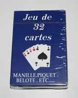 Jeux de 32 Cartes Classiques 9 X 6 cm Bleues NEUF Playing Crads