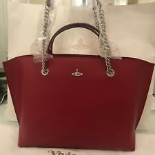 Vivienne Westwood Corinna Smooth Leather Large Tote / Shoulder Bag - Red