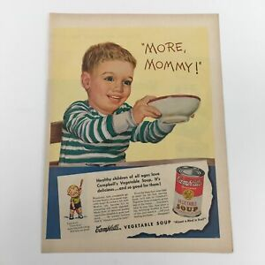1950 Campbell's Condensed Vegetable Soup Vintage Print Ad
