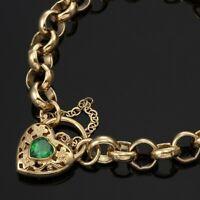 18K Yellow Gold GL Ladies Solid CHUNKY Belcher Bracelet & Emerald Filigree Heart