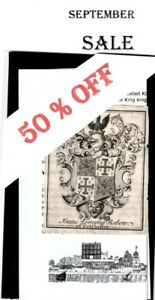 Ex Libris Jacobean Armorial Bookplate: REBOW of COLCHESTER (Essex Uni.) WAS £5
