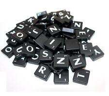 100 BLACK PLASTIC Scrabble TILES LETTERS FOR BOARD GAME ART & CRAFTS SCRAPBOOK