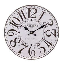 Vintage Shabby Chic Railway Glasgow Central Station Wall Clock - New