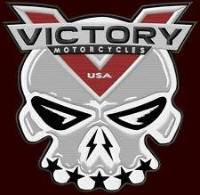 """VICTORY MOTORCYCLES EMBROIDERED BACK PATCH ~10-3/4"""" x 10-1/4"""" SKULL V TWIN BIKER"""