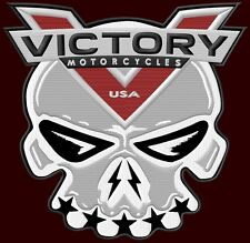"""XL VICTORY MOTORCYCLES EMBROIDERED BACK PATCH ~10-3/4""""x10-1/4"""" SKULL V TWIN BIKE"""