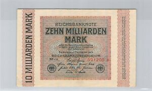 Allemagne 10 Milliard Mark 1.10.1923 n° 591205 Pick 117