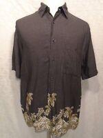 NATURAL ISSUE Men's Large Short Sleeve Hawaiian Button Shirt Gray Palm Trees