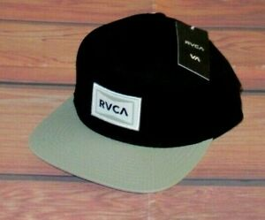 MENS RVCA BLACK GRAY SNAPBACK ADJUSTABLE HAT CAP ONE SIZE