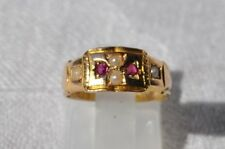Victorian 15ct Gold Ruby & Pearl Set Ring - Birmingham 1890 - Size J