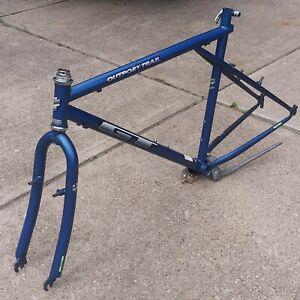 "20"" GT Outpost Trail 26"" Bike Frame Fork Set Blue 90's Era MTB"