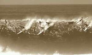 surfing retro vintage print beach Australia black white