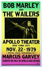 """Bob Marley & the Wailers Concert Poster - 1979 w/ Marcus Garvey - NYC 14""""x22"""""""