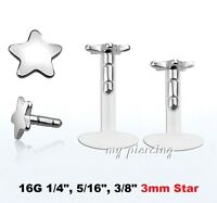 "16g~1/4"", 5/16"" Bio Flex Labret Monroe Tragus with Steel 3mm Star Push-In Top"