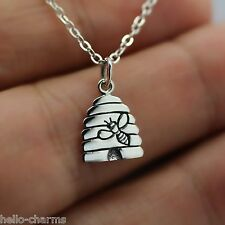 BEE HIVE NECKLACE - 925 Sterling Silver - Bee Charm Necklace Honey Beehive *NEW*