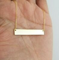 925 Sterling Silver Bar Gold Finish Charm Pendant Chain Necklace