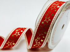 25mm x 2m Bertie's Bows Red Stitched Edge with Gold Metallic Star Print ribbon.