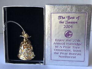 Partridge in a Pear Tree Cast Metal Bell 2004 Pear Bureau Northwest USA Ornament