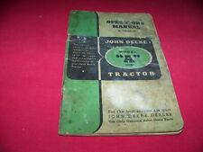 John Deere Model A Tractor Original Owner Operator's Manual
