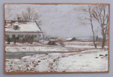 Kleine Winterlandschaft mit Pferden,Impressionist 1897,signiert