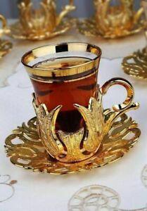 FROM USA (SET OF 6) Handmade Copper Turkish Tea Glasses Saucer Tea Serving Set