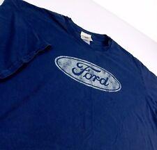Ford Motor Co Distressed Logo Blue T Shirt Sz L Mustang F150 Oarsman 913