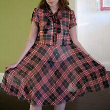 Katia Retro Vtg Pin Up Girl Rockabilly Dress Sheer Chiffon Red Black Plaid S M