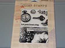 HERO ARTS BASICGREY CLEAR STAMPS POCKET WATCH CL639 KEY BUTTERFLY NEW A1123