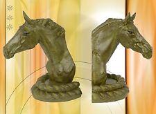 Buchstützen 2 edle Pferde Köpfe Eisen Guss Geschenke Vintage Deko Fahr Reitsport