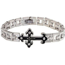 Stainless Steel Men's Cool Wristband Clasp Crystal Cross Cuff Bracelet Bangle