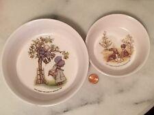 Vintage Holly Hobbie Oneida Plastic Bowl Set 2 Small Large Child Dining Nice!