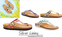 Cork footbed sandals Klouds Silver lining Shoes Rosas Made in Spain Prints Sale