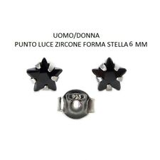 Orecchini Argento 925 Zircone Stella 6 mm Punto Luce Nero- Rodiato
