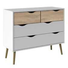 Oslo Retro Spindle Style Wide 4 Drawer Chest of Drawers (2+2) White and Oak