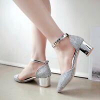Pointed Toes Heel Heels Womens Ankle Strap Buckle Mid Heels Bling Dancing Shoes