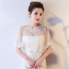 Bride Lace Shawl Bolero Wrap Wedding Tulle Jacket Flower Trim Formal Thin Tippet