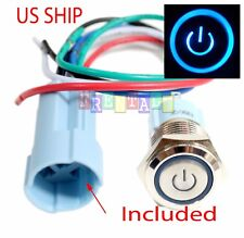 SSF 16mm Blue On Off LED 12V Latching Push Button Power Switch Waterproof
