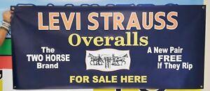 LEVI'S Vintage Logo Cowboy Banner Overalls Sign Pennant Blue Jeans Denim ver 2