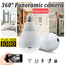 360° Wireless WiFi HD 1080P Hidden SPY LED Light Bulb IP Camera Night Vision Cam