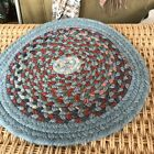 Vintage Wool Braided Small Rug Round Blue Red Gray Cream