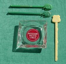 Vintage Missouri Pacific Lines Glass  Ashtray Railroad + 3 Swizzle Sticks