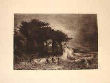 """HUET (Paul) (1803-1869). """"Grande marée d'équinoxe à Honfleur"""" Eau-forte XIX°s."""