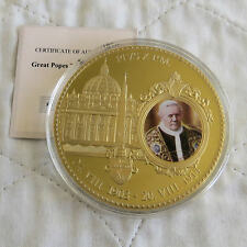 2012 POPE PIUS X 70mm LARGE GOLD PLATED COLOURED PROOF MEDAL - coa