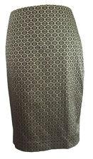 Ann Taylor Womens Jacquard Pencil Skirt Black Gold Career Party Elegant Size 4