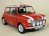 Solido 1/18 Scale Rover Mini Cooper Sport 1997 Fire Red + Flag Diecast Model Car