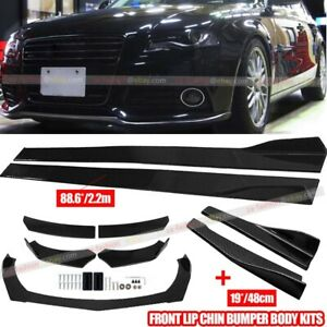 "Carbon Fiber Front Rear Bumper Lip Spoiler&86.6"" Side Skirt Kit For Audi A4 A5"