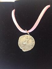"Denarius Of Nero Pewter Coin WC21 Made From Pewter On 18"" Pink Cord Necklace"