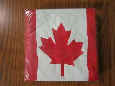 WAVING CANADIAN FLAG BEVERAGE NAPKINS 30 CT PARTY AMSCAN INC 2-PLY COCKTAIL NEW